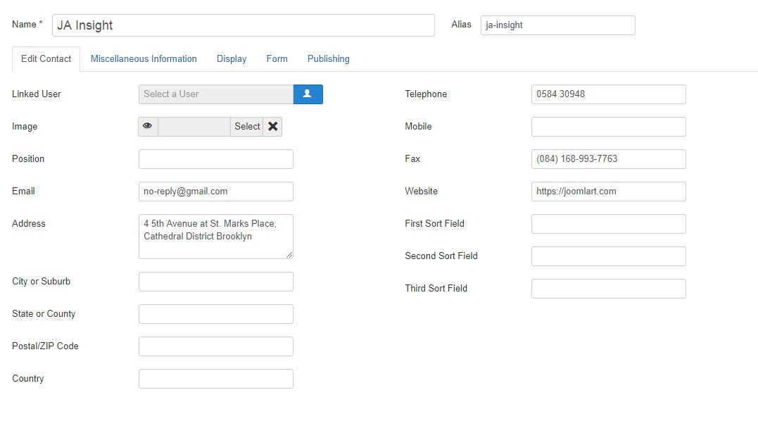 Joomla add contact item