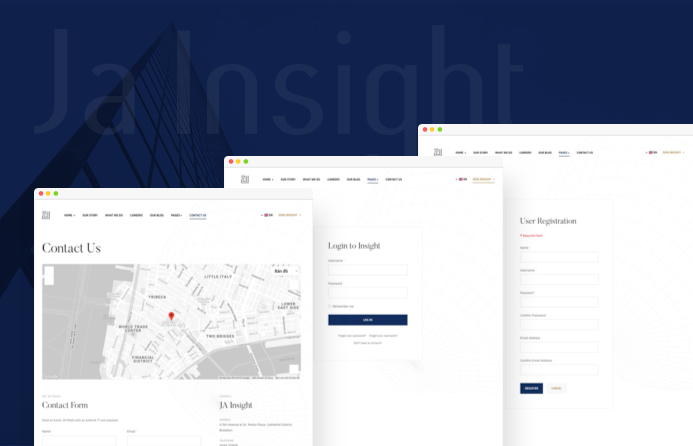 JA Insight default Joomla pages