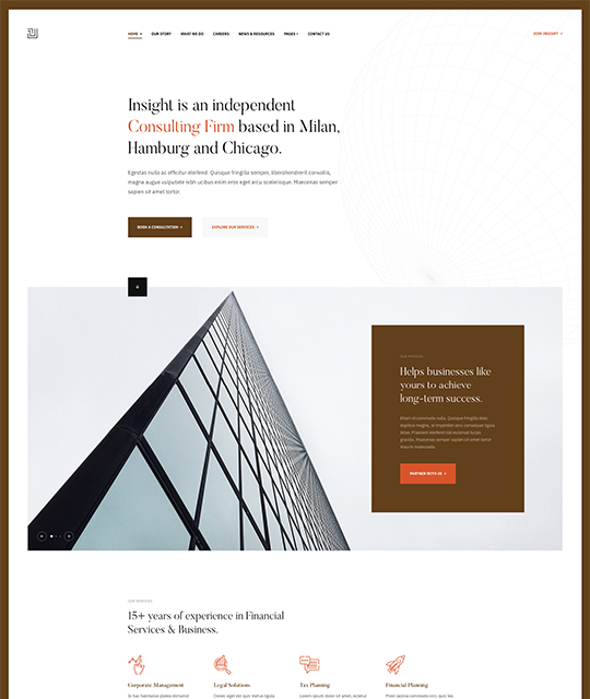Brown theme for business Joomla template - JA Insight