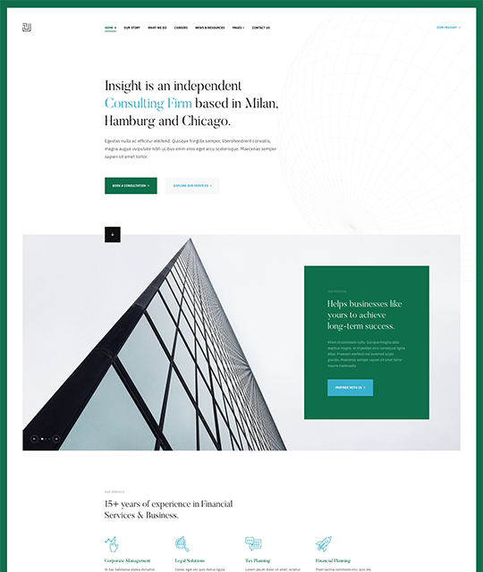 Green theme for business Joomla template - JA Insight