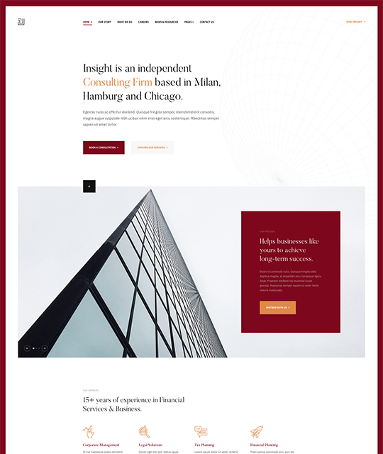 Red theme for business Joomla template - JA Insight
