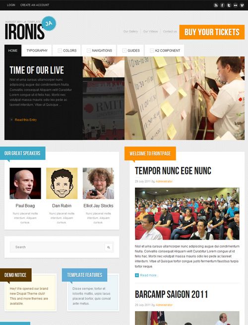 Event and blog Joomla template orange theme- JA Ironis