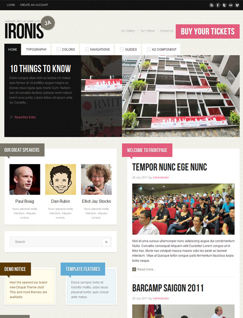 Event and blog Joomla template pink theme - JA Ironis