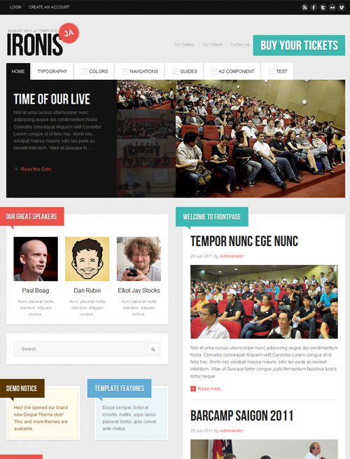 Event and blog Joomla template default theme- JA Ironis