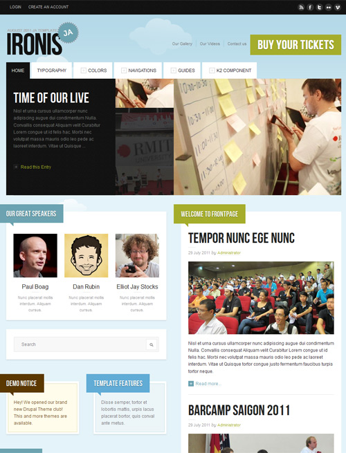 Event and blog Joomla template skypeblue theme- JA Ironis