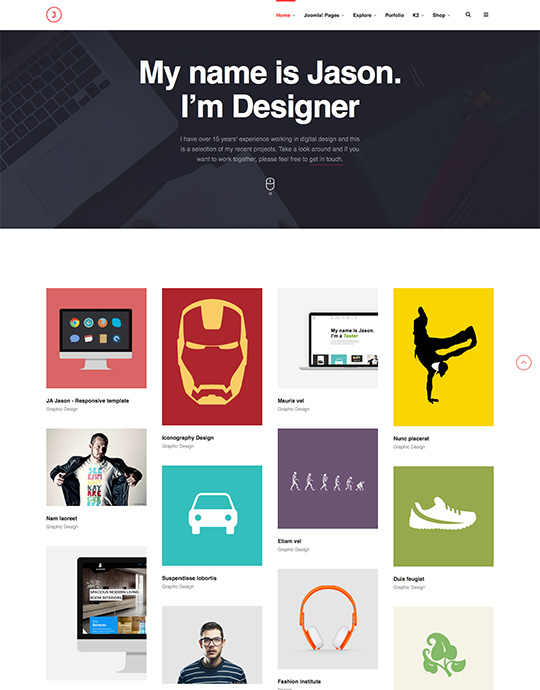 portfolio joomla template for designer - JA Jason