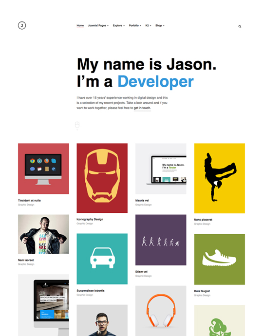 portfolio joomla template for developer - JA Jason