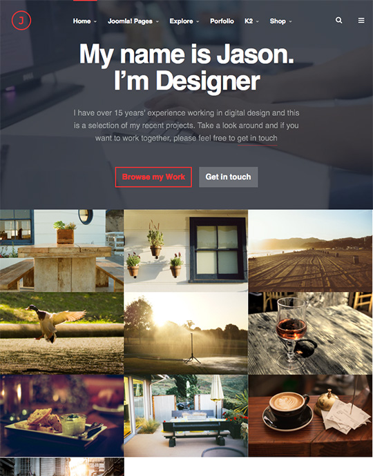 responsive joomla template for portfolio website - JA Jason