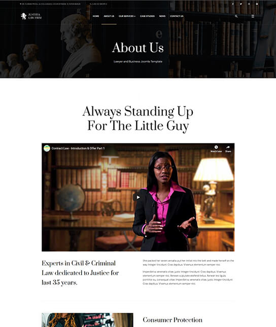 about us for law firm joomla template - JA Justitia