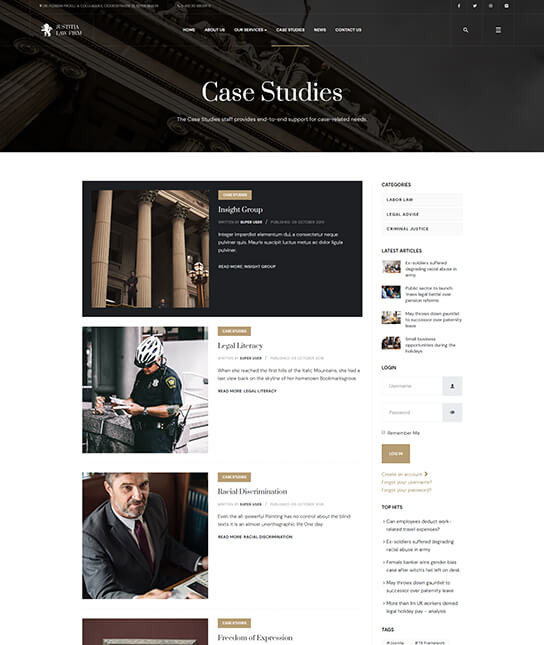 case studies page for law firm joomla template - JA Justitia