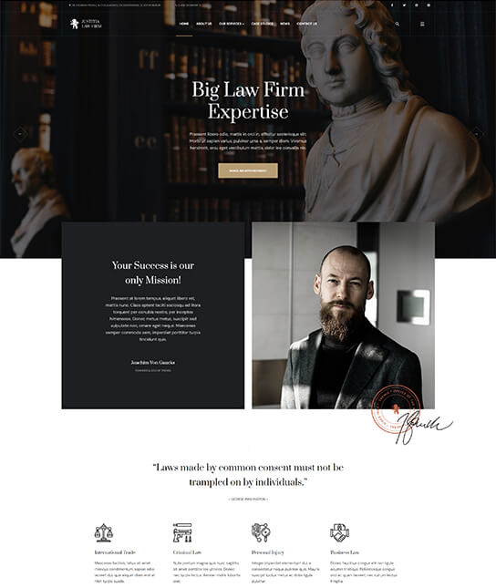 law firm joomla template - JA Justitia
