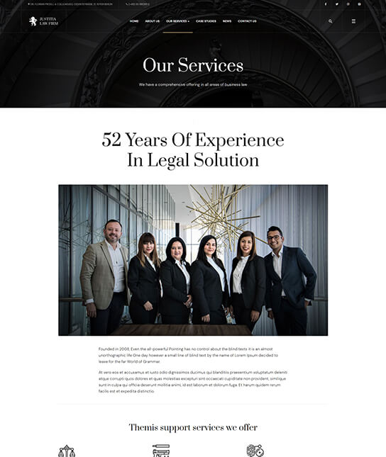 law firm services joomla template - JA Justitia