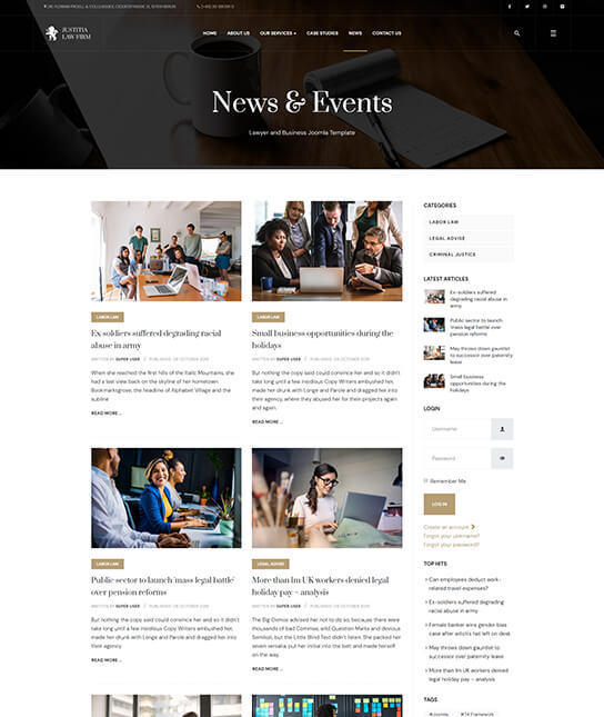 news page for legal organization joomla template - JA Justitia