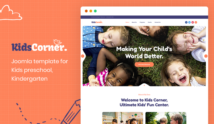 Creative Joomla template for Kindergarten and play center websites : JA Kids Corner