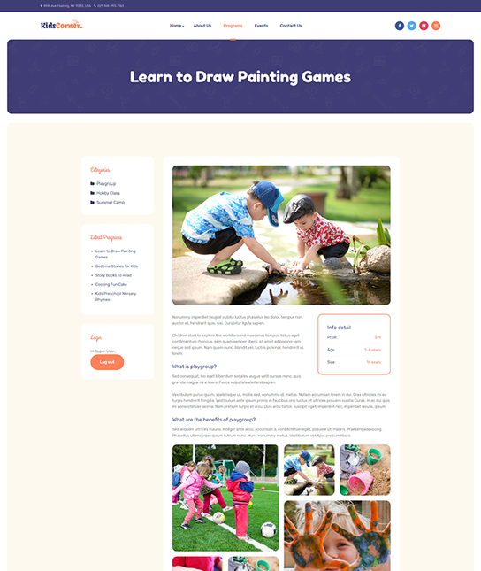 Events details Joomla template - JA Kids Corner