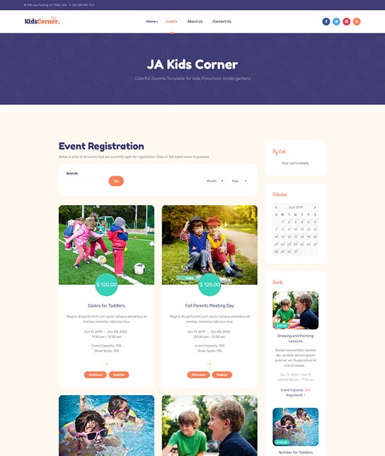 Events Joomla template - JA Kids Corner