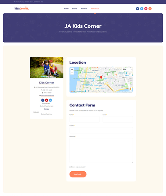 contact page Joomla template - JA Kids Corner