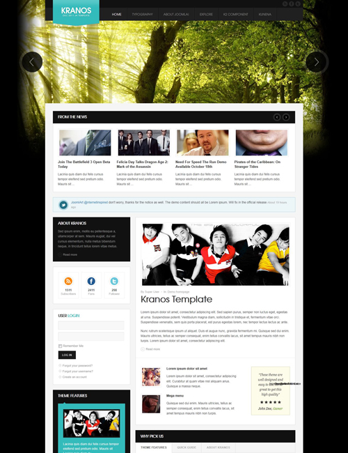 responsive joomla template for business website cyan theme - JA Kranos