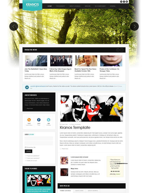 responsive joomla template for business website cyan theme- JA Kranos