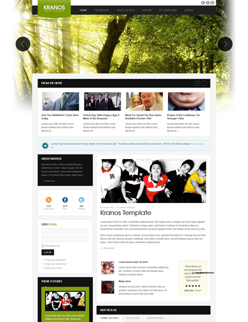 responsive joomla template for business website green theme - JA Kranos