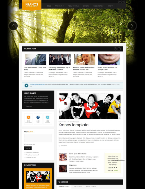 responsive joomla template for business website orange theme- JA Kranos