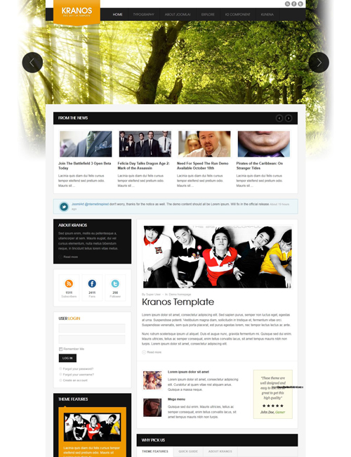 responsive joomla template for business website orange theme - JA Kranos