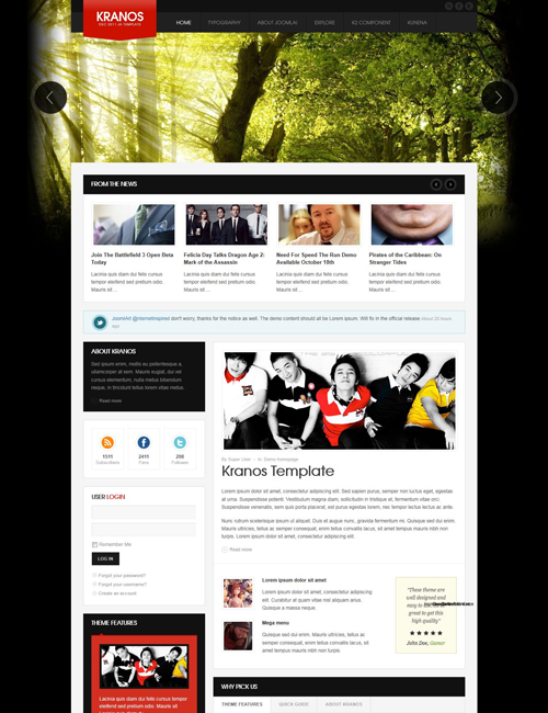 responsive joomla template for business website red theme- JA Kranos