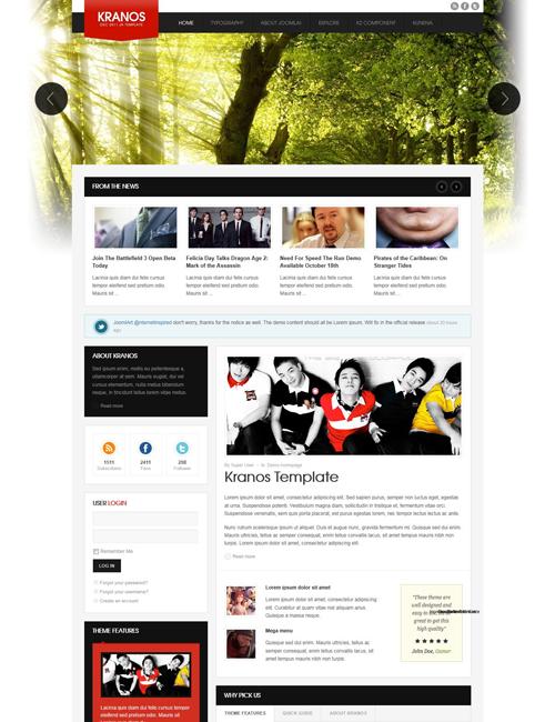 responsive joomla template for business website red theme - JA Kranos