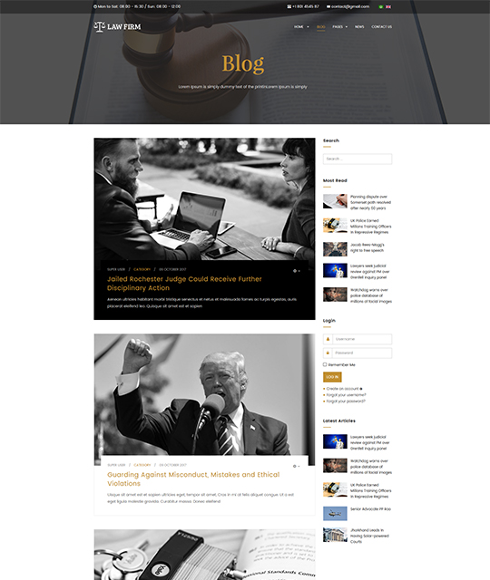 Law Joomla template blog layout - JA Law Firm