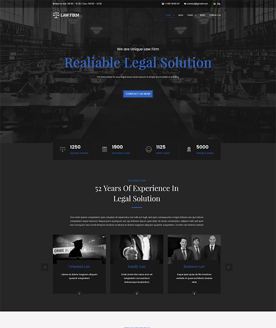 Law Joomla template homepage blue color - JA Law Firm