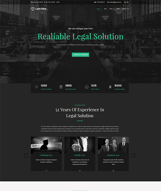 Law Joomla template homepage cyan color - JA Law Firm