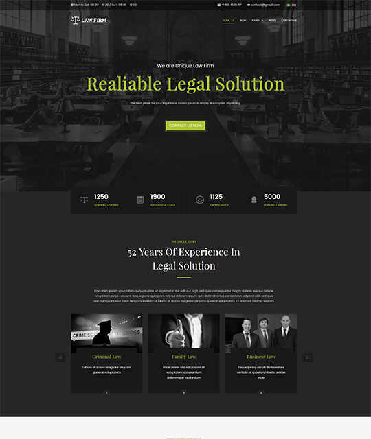 Law Joomla template homepage green color - JA Law Firm
