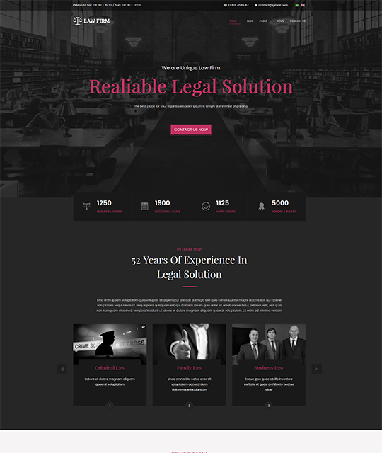 Law Joomla template homepage pink color - JA Law Firm