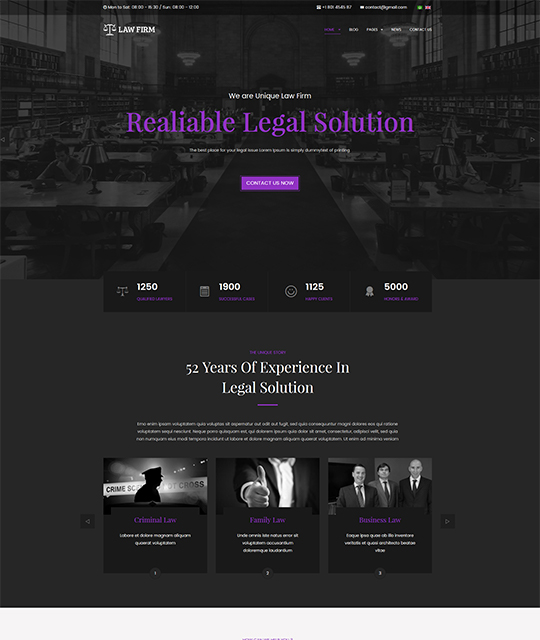 Law Joomla template homepage purple color - JA Law Firm