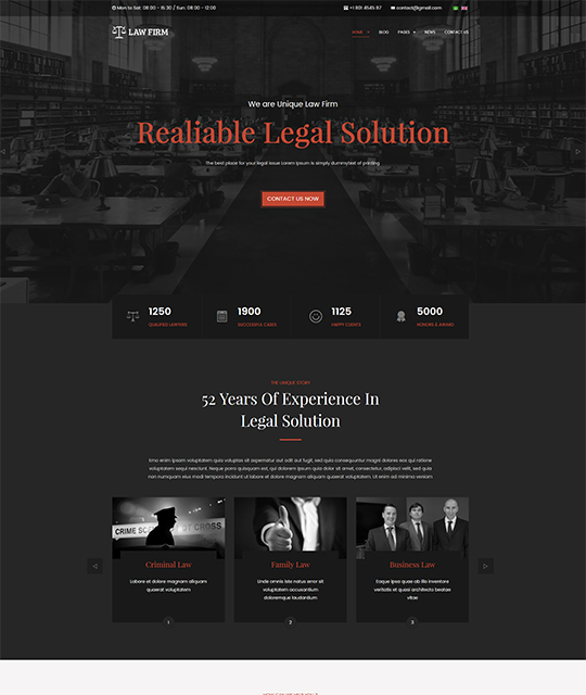 Law Joomla template homepage red color - JA Law Firm