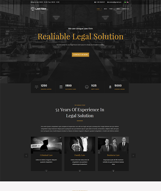 Legal Joomla template homepage layout - JA Law Firm