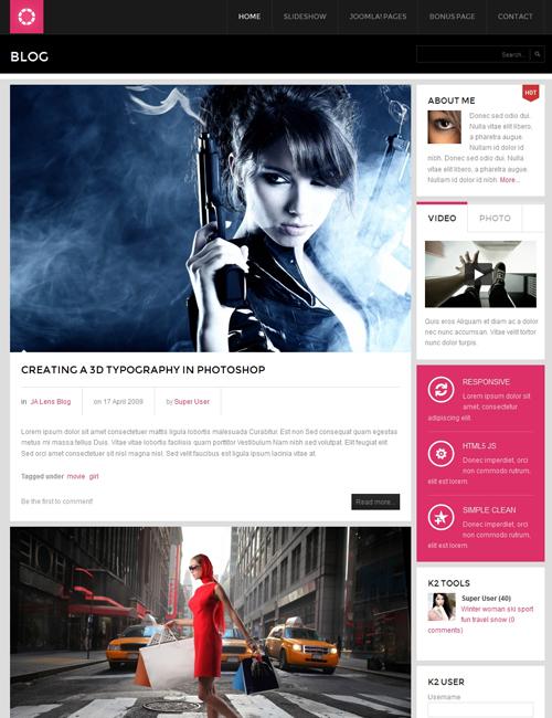 magazine joomla template blog page - JA Lens