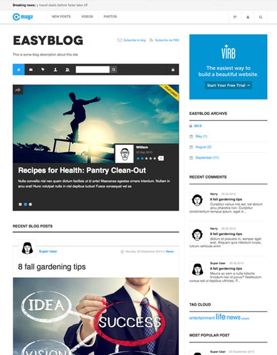 News page of magazine Joomla template - JA Magz easyblog page