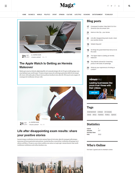 blog page of news and magazine Joomla template - JA Magz II