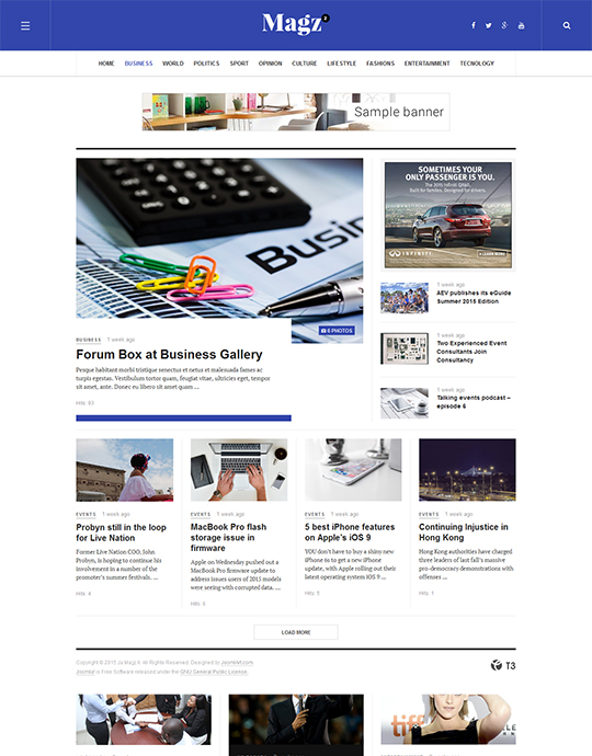 News page of magazine Joomla template - JA Magz II