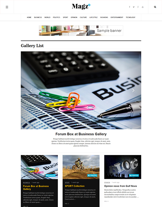 Image gallery page for news Joomla template - JA Magz II