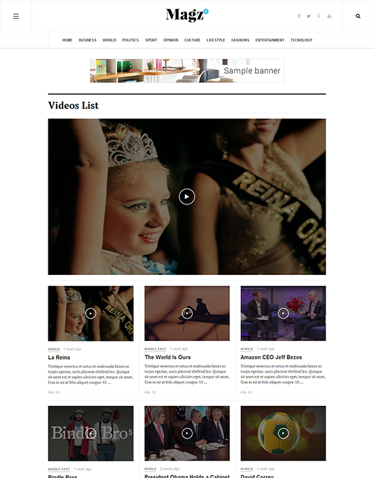 video page of JA Magz II news and magazine Joomla template