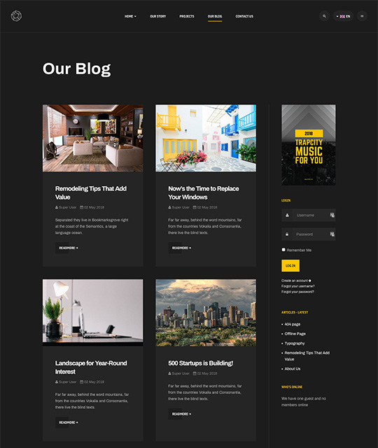 Business Joomla template for company Blog news page layout - JA Mason