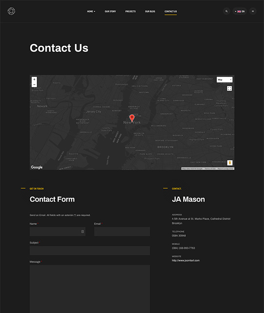 Business Joomla template for company contact us page layout - JA Mason