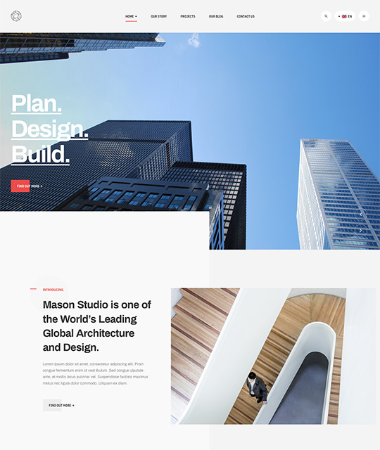 Business Joomla template for company while light theme - JA Mason