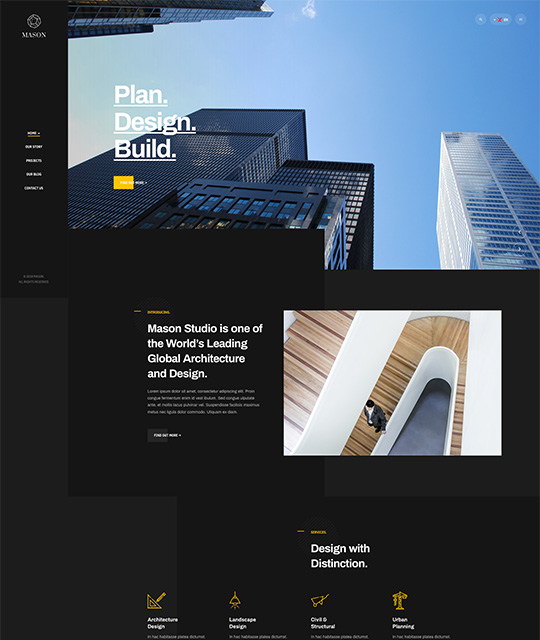 Business Joomla template for company with vertical menu - JA Mason
