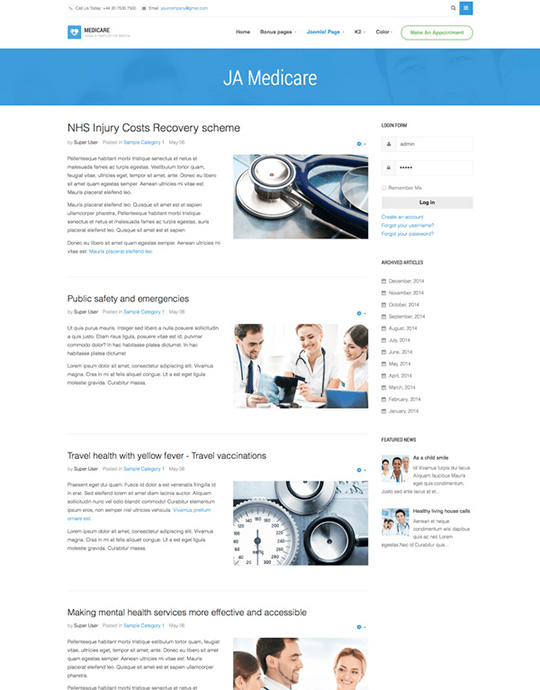 Joomla template for hospital websites - JA Medicare