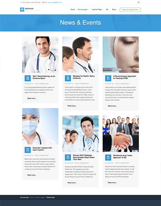 Joomla news and blog pages - JA Medicare