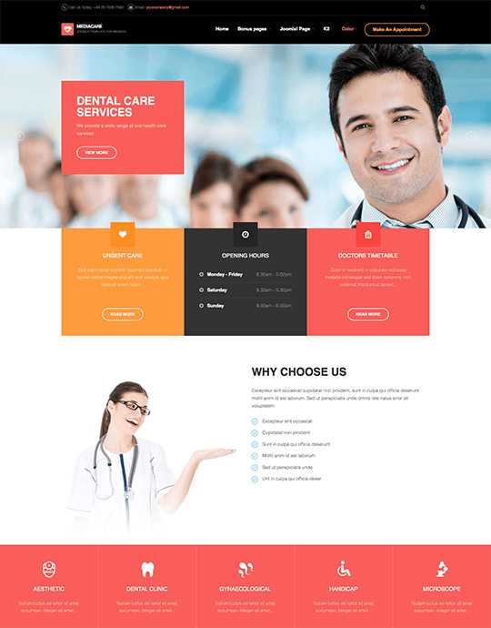 hospital and clinics Joomla template red theme - JA Medicare