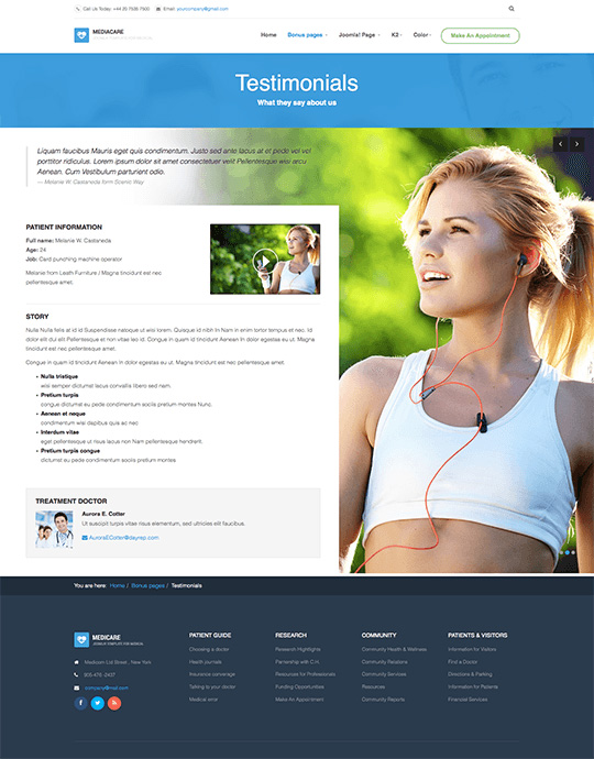 Joomla template health care and hospital testimonials - JA Medicare